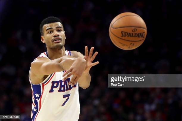 Timothe LuwawuCabarrot of the Philadelphia 76ers passes the ball against the Golden State Warriors at Wells Fargo Center on November 18 2017 in...