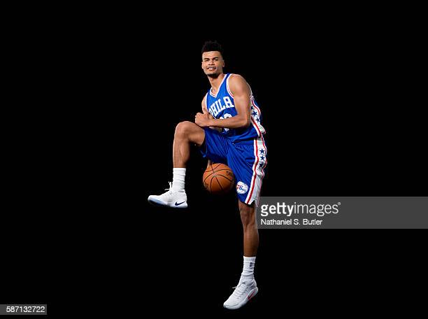 Timothe LuwawuCabarrot of the Philadelphia 76ers poses for a portrait during the 2016 NBA rookie photo shoot on August 7 2016 at the Madison Square...