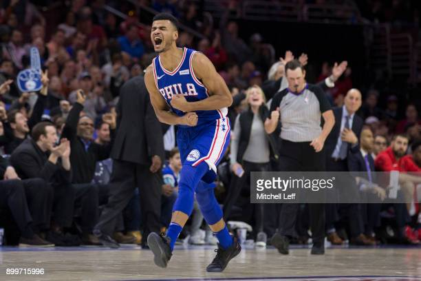 Timothe LuwawuCabarrot of the Philadelphia 76ers reacts against the Toronto Raptors at the Wells Fargo Center on December 21 2017 in Philadelphia...