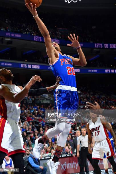 Timothe LuwawuCabarrot of the Philadelphia 76ers shoots a lay up during the game against the Miami Heat on February 11 2017 at Wells Fargo Center in...