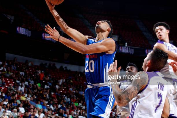 Timothe LuwawuCabarrot of the Philadelphia 76ers shoots a lay up during the game against the Los Angeles Lakers during the 2017 Las Vegas Summer...