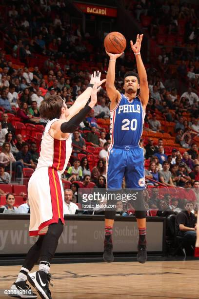 Timothe LuwawuCabarrot of the Philadelphia 76ers shoots the ball during a game against the Miami Heat on February 4 2017 at American Airlines Arena...