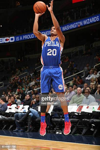 Timothe LuwawuCabarrot of the Philadelphia 76ers shoots the ball against the Washington Wizards during a preseason game on October 13 2016 at Verizon...