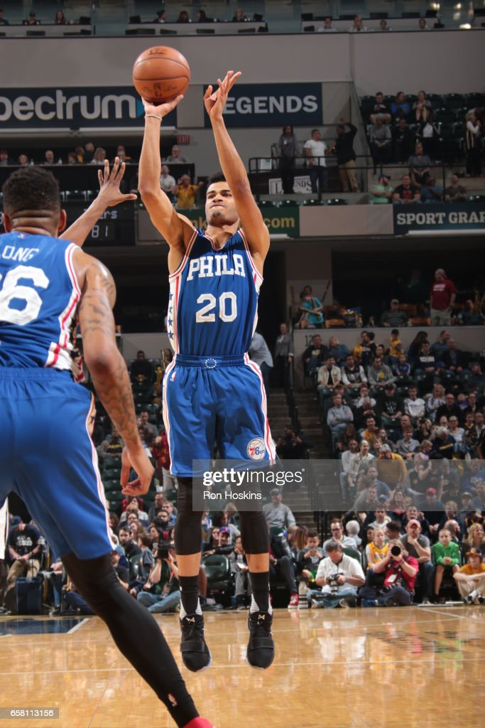 Timothe Luwawu-Cabarrot #20 of the Philadelphia 76ers shoots the ball against the Indiana Pacers on March 26, 2017 at Bankers Life Fieldhouse in Indianapolis, Indiana.
