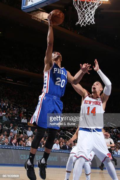 Timothe LuwawuCabarrot of the Philadelphia 76ers shoots the ball against the New York Knicks on April 12 2017 at Madison Square Garden in New York...