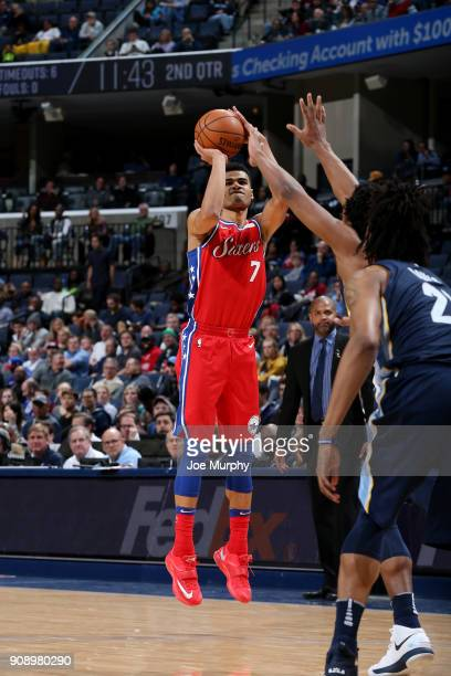 Timothe LuwawuCabarrot of the Philadelphia 76ers shoots the ball against the Memphis Grizzlies on January 22 2018 at FedExForum in Memphis Tennessee...