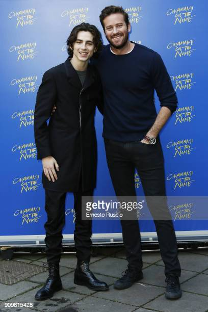 Timothee Chalamet and Armie Hammer attend 'Chiamami Col Tuo Nome ' at Hotel De Roussie on January 24 2018 in Rome Italy