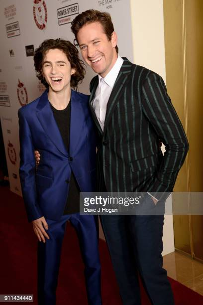 Timothee Chalamet and Armie Hammer attend London Film Critics' Circle Awards 2018 at The Mayfair Hotel on January 28 2018 in London England
