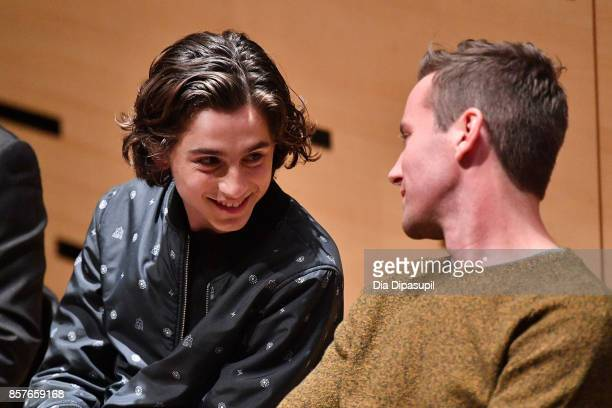 Timothee Chalamet and Armie Hammer attend NYFF Live Making 'Call Me by Your Name' during the 55th New York Film Festival at Elinor Bunin Munroe Film...
