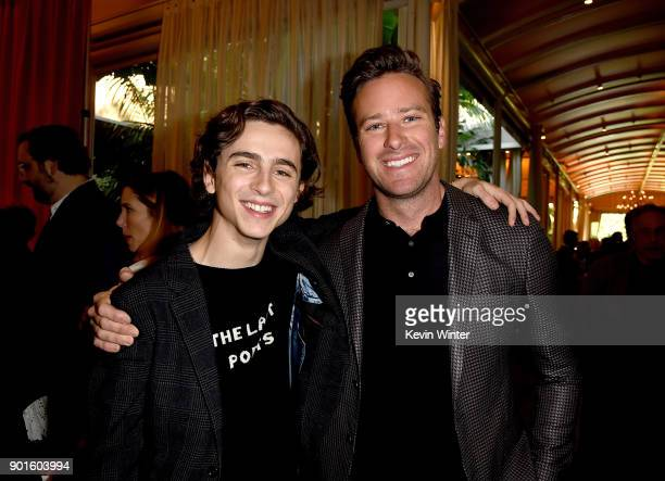 Timothee Chalamet and Armie Hammer attend the 18th Annual AFI Awards at Four Seasons Hotel Los Angeles at Beverly Hills on January 5 2018 in Los...