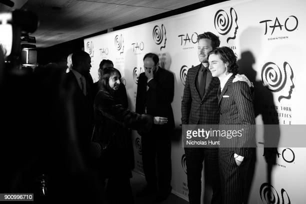 Timothee Chalamet and Armie Hammer attend the 2017 New York Film Critics Awards at TAO Downtown on January 3 2018 in New York City