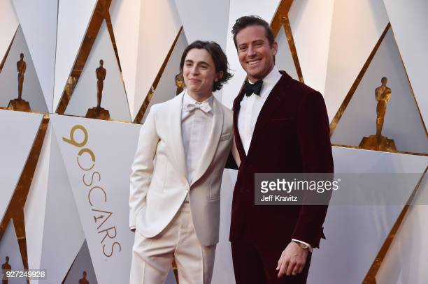 Timothee Chalamet and Armie Hammer attend the 90th Annual Academy Awards at Hollywood Highland Center on March 4 2018 in Hollywood California