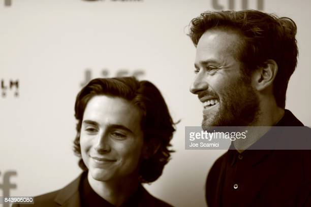 Timothee Chalamet and Armie Hammer attend the 'Call Me By Your Name' premiere during the 2017 Toronto International Film Festival at Ryerson Theatre...