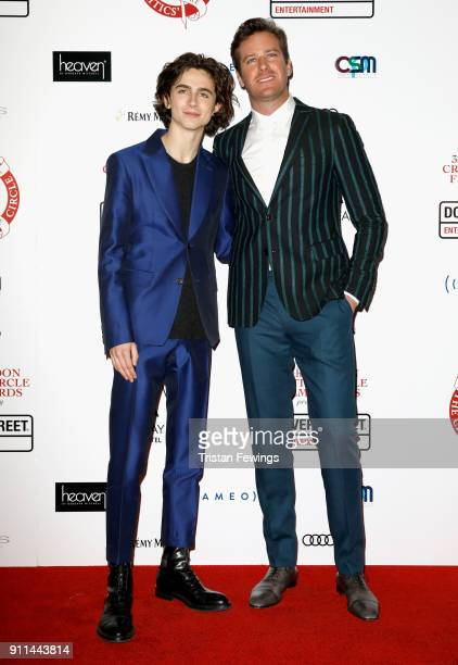 Timothee Chalamet and Armie Hammer attend the London Film Critics Circle Awards 2018 at The Mayfair Hotel on January 28 2018 in London England