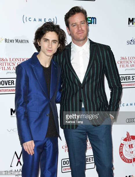 Timothee Chalamet and Armie Hammer attend the London Film Critics Circle Awards 2018 at The May Fair Hotel on January 28 2018 in London England