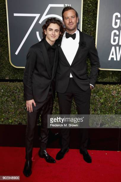 Timothee Chalamet and Armie Hammer attends The 75th Annual Golden Globe Awards at The Beverly Hilton Hotel on January 7 2018 in Beverly Hills...