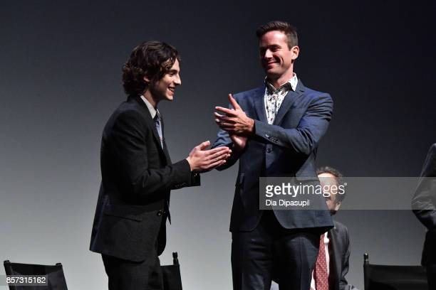 Timothee Chalamet and Armie Hammer take part in a QA following a screening of 'Call Me by Your Name' during the 55th New York Film Festival at Alice...