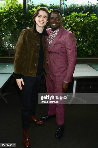 Timothee Chalamet and Daniel Kaluuya attend the Film Independent Spirit Awards Nominee Brunch at BOA Steakhouse on January 6 2018 in West Hollywood...