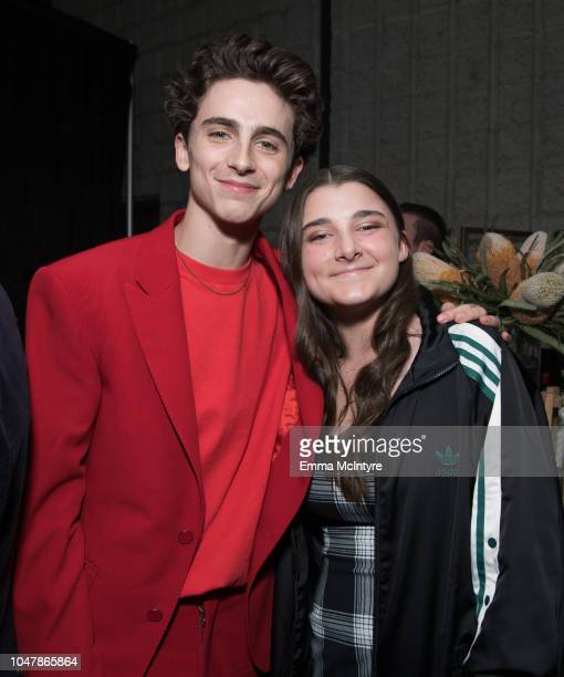Timothee Chalamet and Elisabeth Anne Carell attend the Amazon Studios Los Angeles premiere of Beautiful Boy at Samuel Goldwyn Theater on October 8...