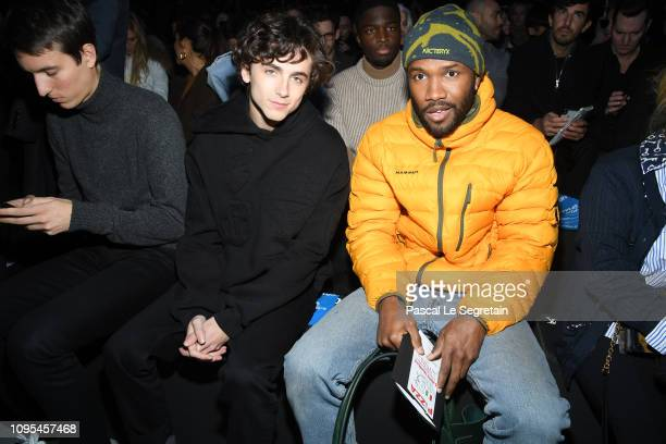Timothee Chalamet and Frank Ocean attend the Louis Vuitton Menswear Fall/Winter 20192020 show as part of Paris Fashion Week on January 17 2019 in...