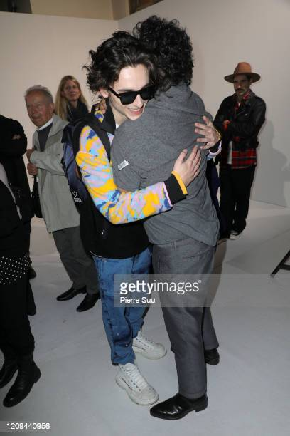 Timothee Chalamet and Haider Ackermann are seen backstage at the Haider Ackermann Womenswear Fall/Winter 2020/2021 show as part of Paris Fashion Week...