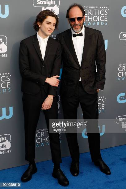 Timothee Chalamet and Luca Guadagnino attend the 23rd Annual Critics' Choice Awards at Barker Hangar on January 11 2018 in Santa Monica California