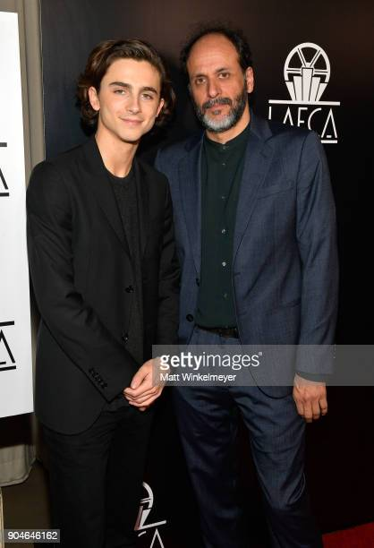 Timothee Chalamet and Luca Guadagnino attend the 43rd Annual Los Angeles Film Critics Association Awards on January 13 2018 in Los Angeles California