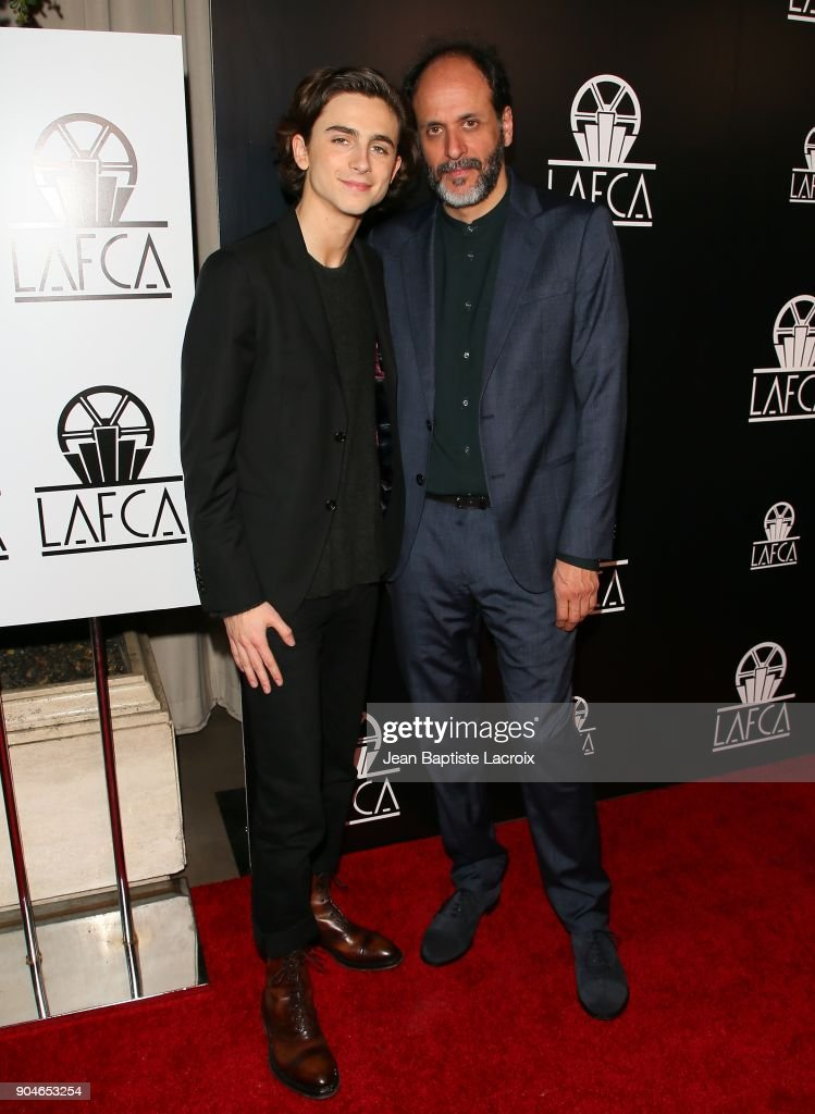 Timothee Chalamet and Luca Guadagnino attend the 43rd Annual Los Angeles Film Critics Association Awards on January 13, 2018 in Hollywood, California.