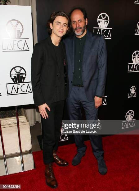 Timothee Chalamet and Luca Guadagnino attend the 43rd Annual Los Angeles Film Critics Association Awards on January 13 2018 in Hollywood California