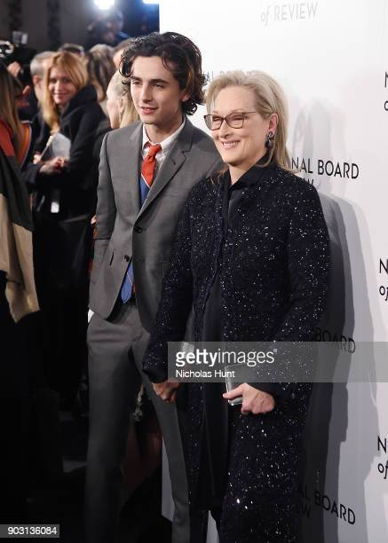 Timothee Chalamet and Meryl Streep attend the 2018 National Board Of Review Awards Gala at Cipriani 42nd Street on January 9 2018 in New York City