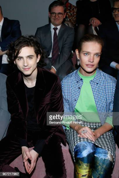 Timothee Chalamet and Natalia Vodianova attend the Berluti Menswear Fall/Winter 20182019 show as part of Paris Fashion Week on January 19 2018 in...
