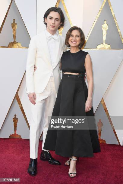 Timothee Chalamet and Nicole Flender attend the 90th Annual Academy Awards at Hollywood Highland Center on March 4 2018 in Hollywood California