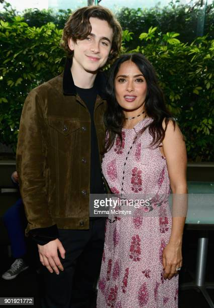 Timothee Chalamet and Salma Hayek attend the Film Independent Spirit Awards Nominee Brunch at BOA Steakhouse on January 6 2018 in West Hollywood...