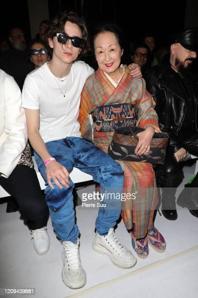 Timothee Chalamet and Setsuko Klossowska attend the Haider Ackermann show as part of the Paris Fashion Week Womenswear Fall/Winter 2020/2021 on...