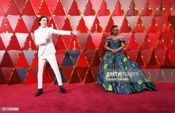 Timothee Chalamet and Whoopi Goldberg attend the 90th Annual Academy Awards at Hollywood Highland Center on March 4 2018 in Hollywood California