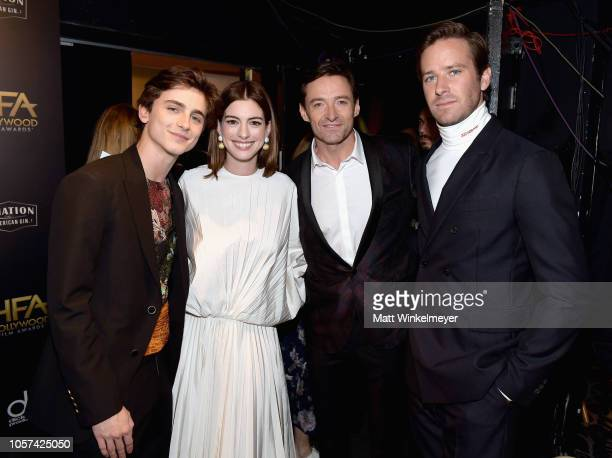 Timothee Chalamet Anne Hathaway Hugh Jackman and Armie Hammer attend the 22nd Annual Hollywood Film Awards at The Beverly Hilton Hotel on November 4...