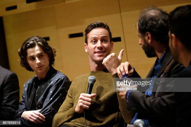 Timothee Chalamet Armie Hammer and Luca Guadagnino speak at the NYFF55 Live with FIJI Water featuring 'Call Me By Your Name' during the 55th New York...