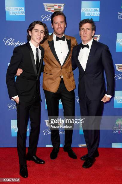 Timothee Chalamet Armie Hammer and Peter Spears attend the 29th Annual Palm Springs International Film Festival Awards Gala at Palm Springs...