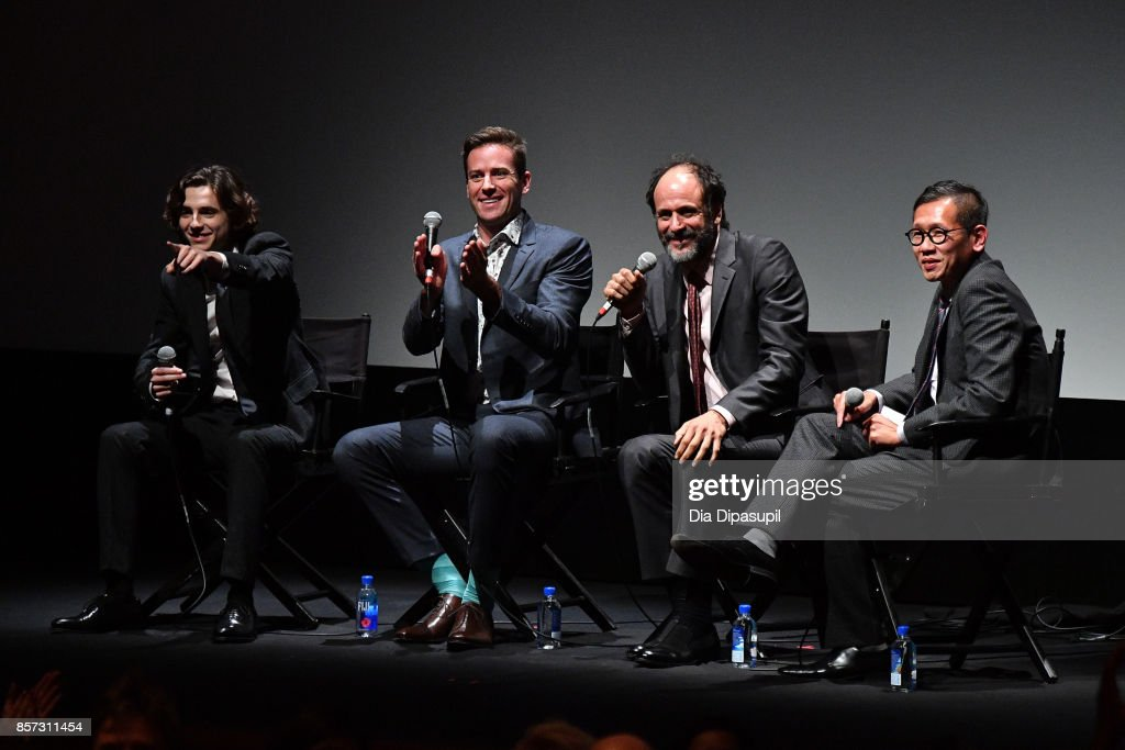Timothee Chalamet, Armie Hammer, Luca Guadagnino, and Dennis Lim take part in a Q&A following a screening of 'Call Me by Your Name' during the 55th New York Film Festival at Alice Tully Hall on October 3, 2017 in New York City.