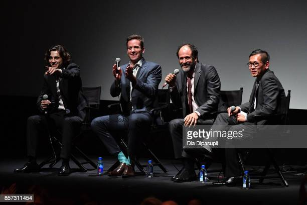 Timothee Chalamet Armie Hammer Luca Guadagnino and Dennis Lim take part in a QA following a screening of 'Call Me by Your Name' during the 55th New...