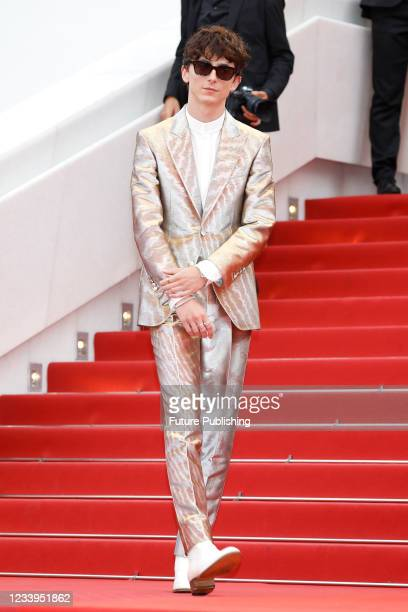 Timothee Chalamet arrives at the premiere of 'The French Dispatch' during the 74th Cannes Film Festival held at the Palais des Festivals in Cannes,...