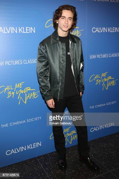 Timothee Chalamet attends Calvin Klein and The Cinema Society host a screening of Sony Pictures Classics' 'Call Me By Your Name' on November 16 2017...