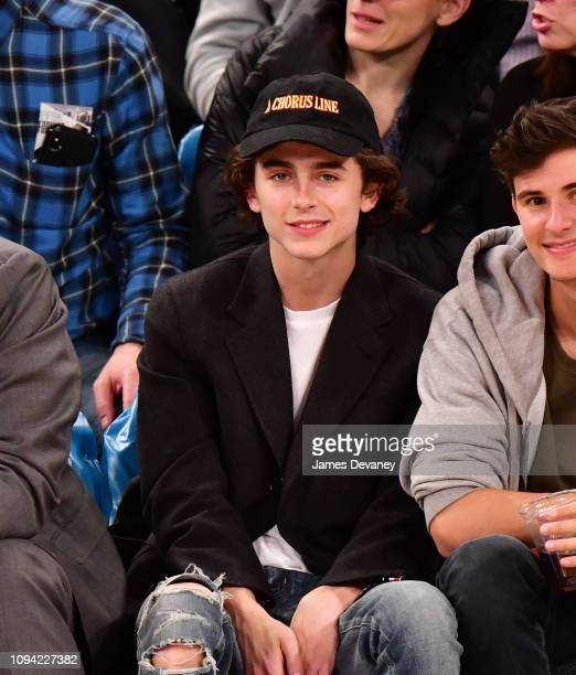 Timothee Chalamet attends Detroit Pistons v New York Knicks game at Madison Square Garden on February 5 2019 in New York City
