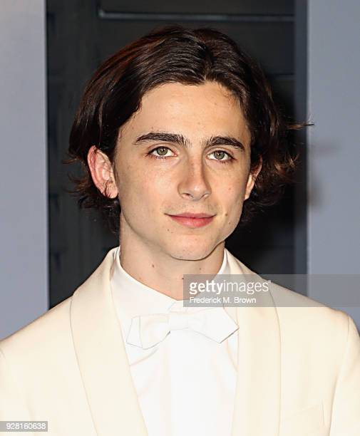 Timothee Chalamet attends the 2018 Vanity Fair Oscar Party hosted by Radhika Jones at Wallis Annenberg Center for the Performing Arts on March 4 2018...