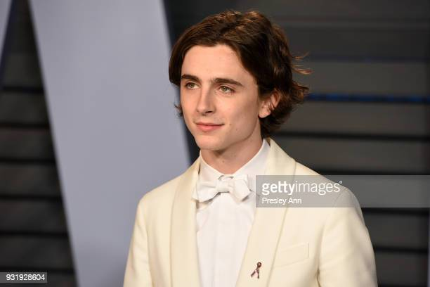 Timothee Chalamet attends the 2018 Vanity Fair Oscar Party Hosted By Radhika Jones Arrivals at Wallis Annenberg Center for the Performing Arts on...