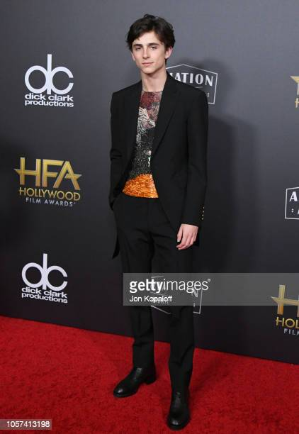 Timothee Chalamet attends the 22nd Annual Hollywood Film Awards at The Beverly Hilton Hotel on November 4 2018 in Beverly Hills California