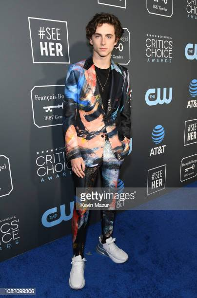 Timothee Chalamet attends the 24th annual Critics' Choice Awards at Barker Hangar on January 13 2019 in Santa Monica California