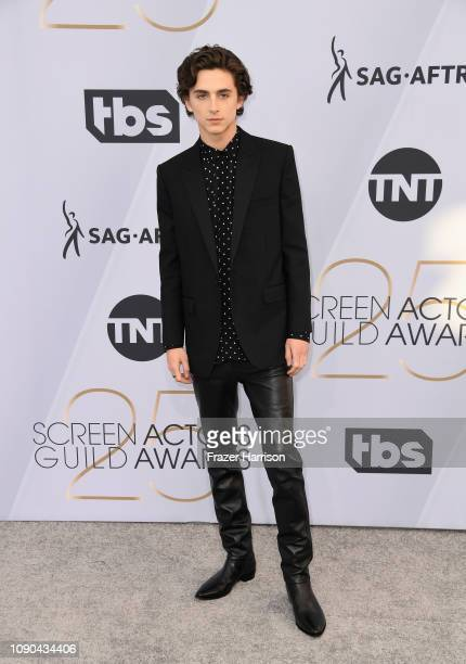 Timothee Chalamet attends the 25th Annual Screen Actors Guild Awards at The Shrine Auditorium on January 27 2019 in Los Angeles California