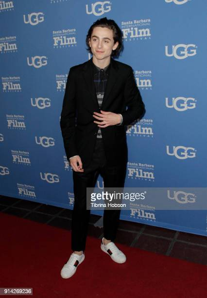 Timothee Chalamet attends the 33rd Annual Santa Barbara International Film Festival Virtuosos Award Presentation at Arlington Theatre on February 3...