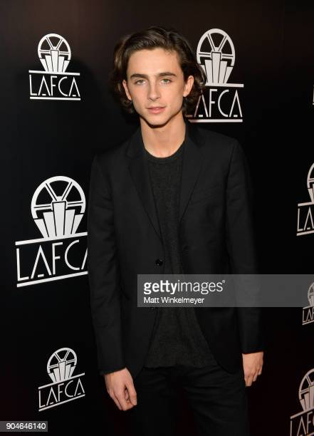 Timothee Chalamet attends the 43rd Annual Los Angeles Film Critics Association Awards on January 13 2018 in Los Angeles California